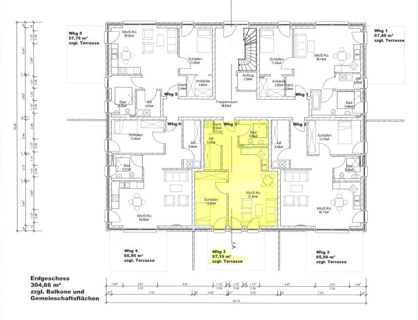 Grundriss, EG - Wohnung 3