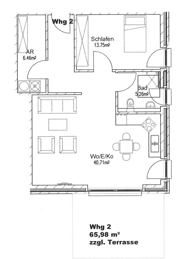 Grundriss Whg. 2, EG links - hinten