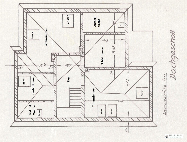 Grundriss Dachgeschoss mit Verlauf der Dachschrägen