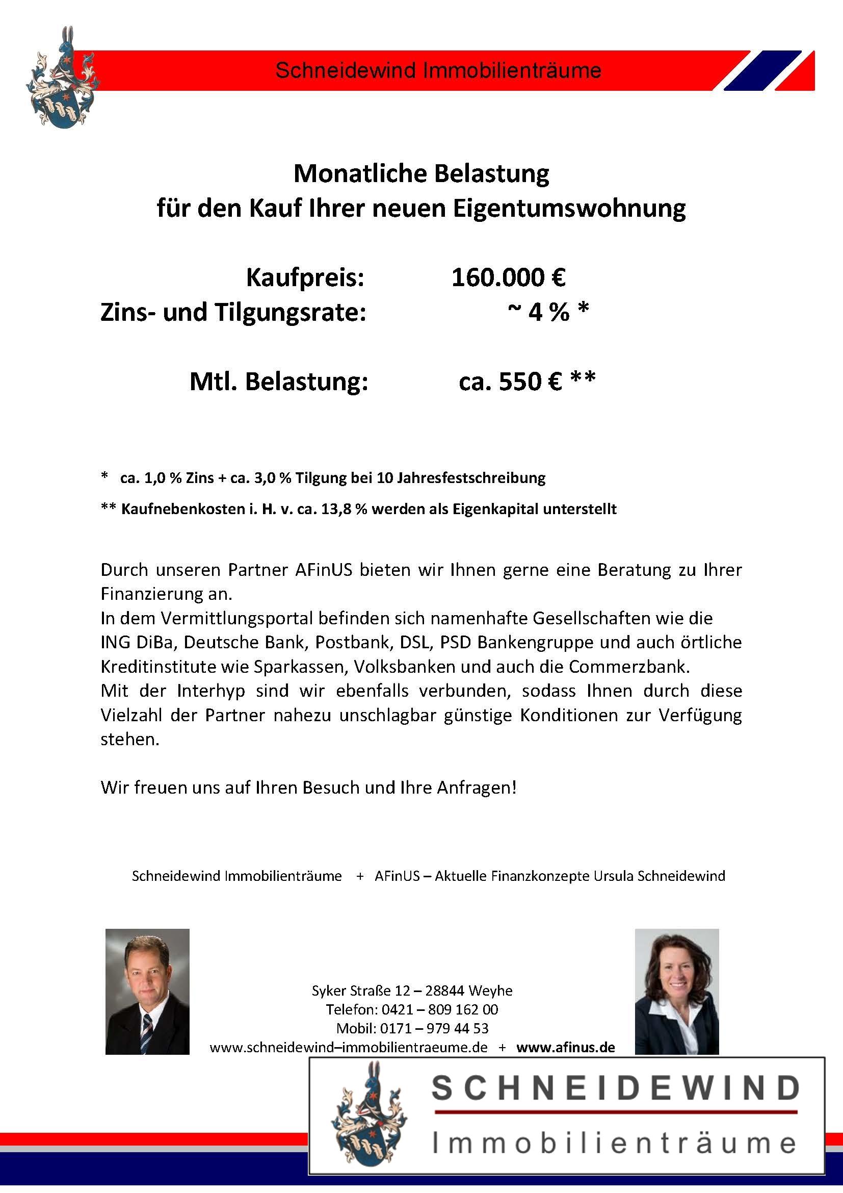 Finanzierungsbeispiel für Eigentumswohnung Weyhe vom 23.06.2020